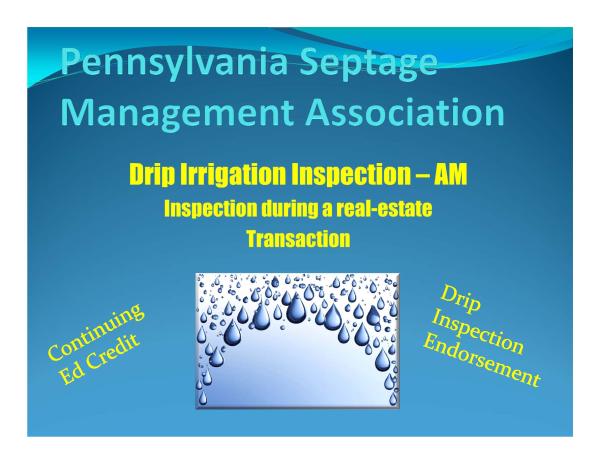 Psma Anounces Drip Irrigation Inspection Endorsement